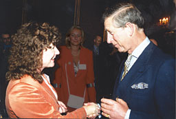 Kay Zega answering Prince Charles' questions about Reiki at St James' Palace May 2003 when she was Chair of the UK Reiki Federation.